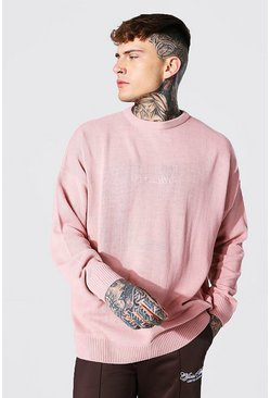 Pale pink Oversized Ofcl Man Tonal Embroidered Jumper