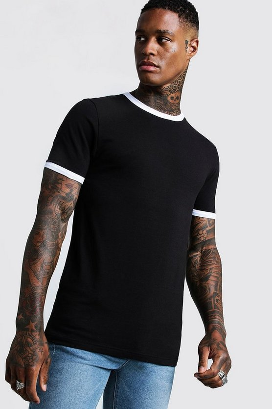 Mens Black Basic Muscle Fit Ringer T-Shirt