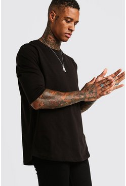 Mens Black Basic 3/4 Sleeve Curved Hem T-Shirt
