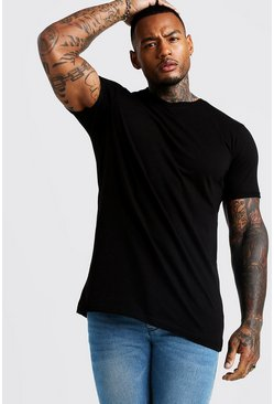 Basic Longline High V Neck Rolled Sleeve T-Shirt, Black, HOMMES