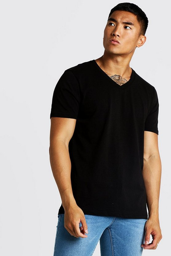 Mens Black Basic Deep V Neck T-Shirt