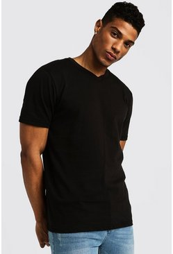 Mens Black Basic V Neck T-Shirt