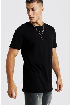 Basic Longline Split Hem T-Shirt, Black, HOMMES