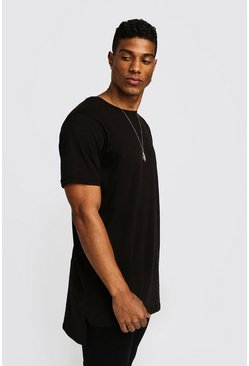 Basic Longline Step Hem T-Shirt, Black, HOMMES