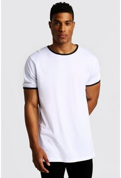 Mens White Basic Longline Ringer T-Shirt