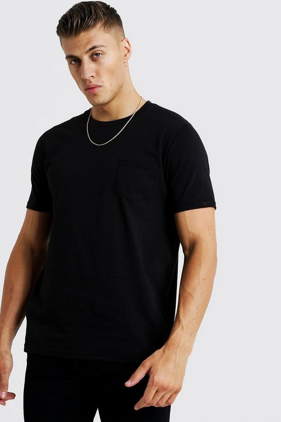 Mens Black Basic Pocket T-Shirt