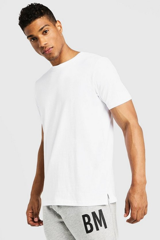 Mens White Basic Split Hem T-Shirt