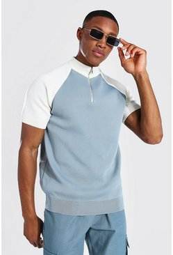 Blue Funnel Neck Colour Block Knitted T-shirt