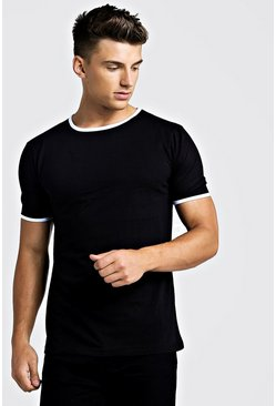 Mens Black Basic Ringer Crew T-Shirt