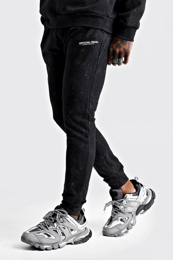 Mens Charcoal Official MAN Acid Wash Jogger