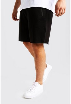 Mens Black Big & Tall Raw Edge Shorts Contrast Waistband