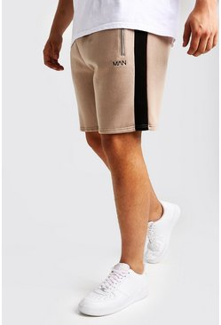 Mens Taupe Big & Tall MAN Dash Panelled Short