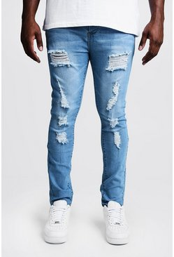 Mens Pale blue Big & Tall Skinny Fit Jeans All Over Rips