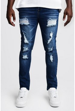 Mens Mid blue Big & Tall Skinny Fit Jeans All Over Rips