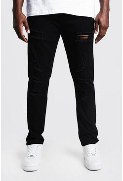 Mens Black Big & Tall Skinny Fit Jeans All Over Rips