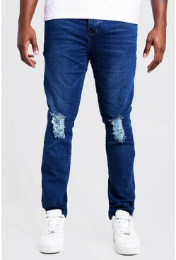 Mens Mid blue Big & Tall Skinny Fit Jeans With Ripped Knee