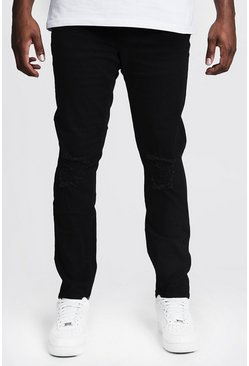Mens Black Big & Tall Skinny Fit Jeans With Ripped Knee