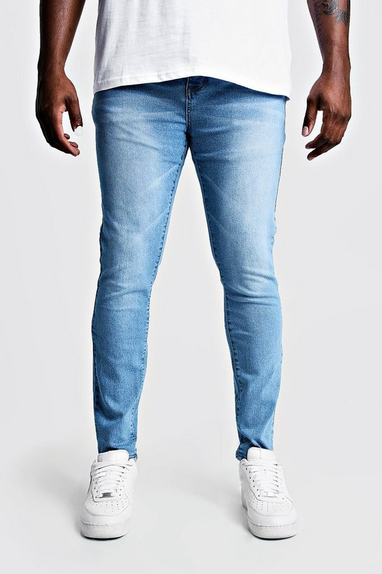 Mens Pale blue Big & Tall Skinny Fit Jeans