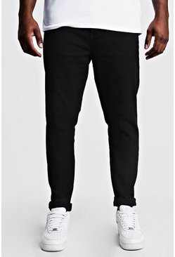 Mens Black Big & Tall Skinny Fit Jeans