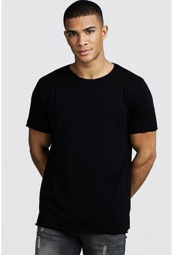 Mens Black Slub T-Shirt With Raw Edge