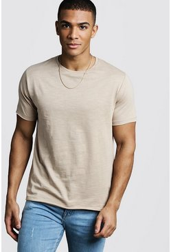 Mens Stone Slub T-Shirt With Raw Edge
