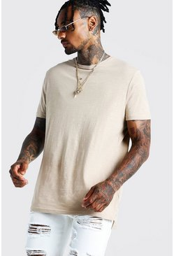 Mens Stone Slub T-Shirt With Step Hem