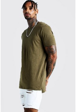 Mens Khaki Slub T-Shirt With Step Hem