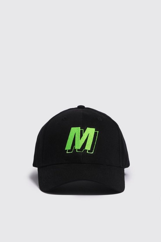 Mens Neon-green M Shadow Embroidered Cap