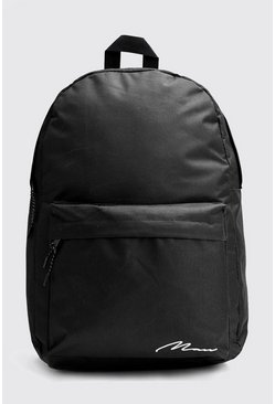 Mens Black Man Script Print Nylon Backpack
