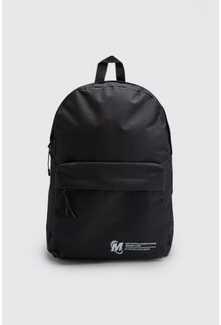 Mens Black Man Official Pocket Print Nylon Backpack