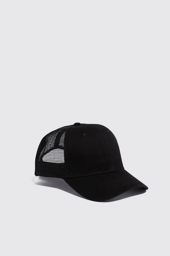 Mens Black 6 Panel Cotton Front Trucker Cap