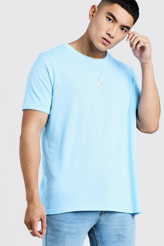 Mens Aqua Oversized Crew Neck T-Shirt