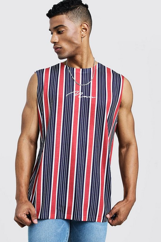 Navy MAN Signature Stripe Tank