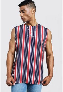 Mens Navy MAN Signature Stripe Tank