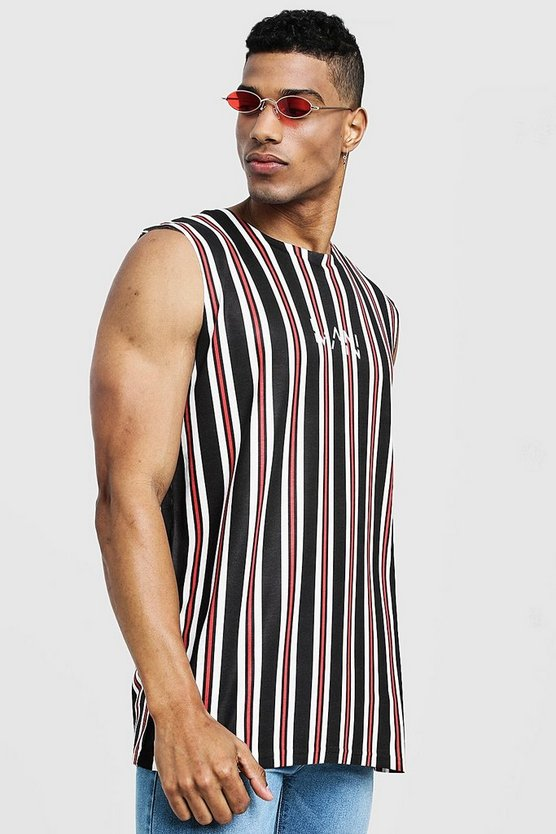 Mens Black MAN Signature Stripe Tank