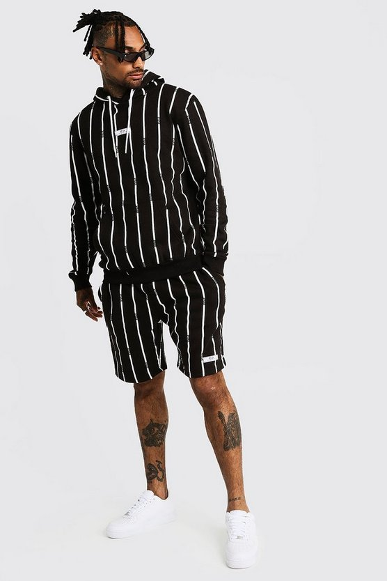 Mens Black MAN Stripe Hooded Short Tracksuit With Rib