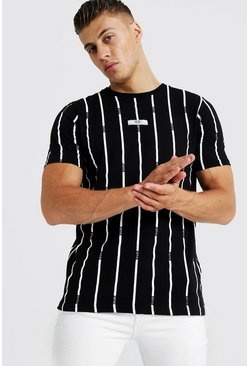 Black MAN Stripe Printed T-Shirt With Woven Tab