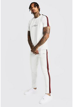 Mens White MAN Signature Pinstripe T-Shirt & Tape Jogger