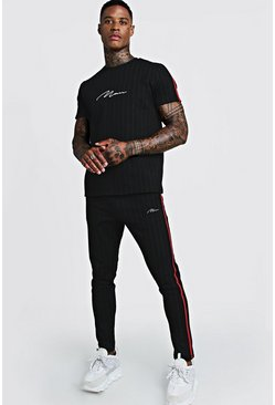 Mens Black Smart MAN Signature Pinstripe T-Shirt Tracksuit