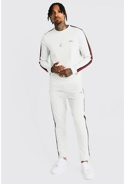 Mens White MAN Signature Pinstripe Tape Sweater Tracksuit