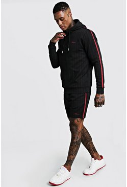 Mens Black MAN Signature Pinstripe Hooded Short Tracksuit