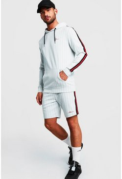 Mens White MAN Signature Pinstripe Hooded Short Tracksuit