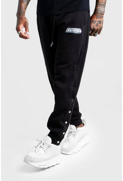Mens Black Popper Joggers With Rubber MAN Tab Fastening