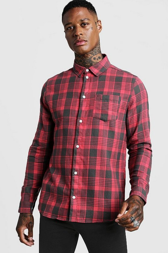 Mens Red Brushed Flannel Check Long Sleeve Shirt
