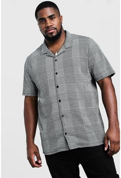 Mens Black Big & Tall Revere Collared Jacquard Shirt