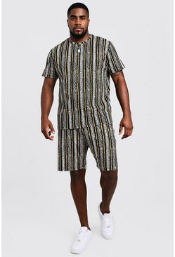 Mens Black Big & Tall Stripe Jacquard T-Shirt & Short Set