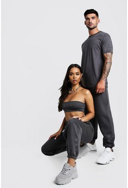 Womens Charcoal Hers Bandeau Crop Top & Jogger Set