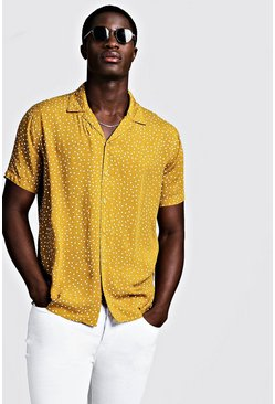 Mens Mustard Polka Dot Short Sleeve Revere Shirt