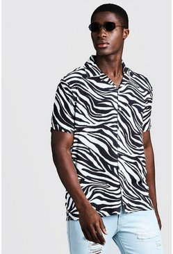 Mens White Animal Print Short Sleeve Revere Shirt