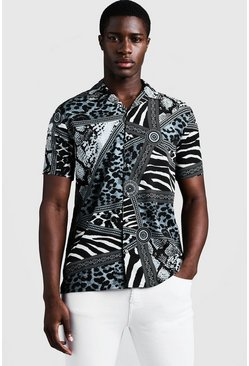 Mens Grey Animal Baroque Short Sleeve Revere Shirt